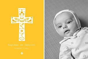 Faire-part de baptême jaune croix folk jaune