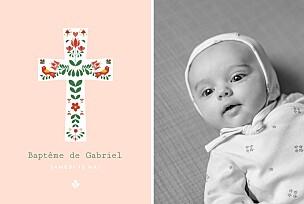 Faire-part de baptême avec photo croix folk rouge