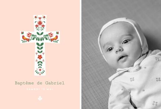Faire-part de baptême Croix folk rouge