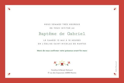 Faire-part de baptême Croix folk rouge - Page 2