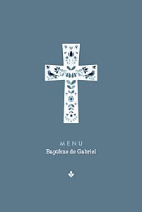 Menu de baptême bleu croix folk bleu