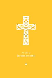 Menu de baptême Croix folk jaune