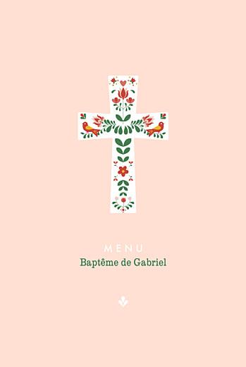 Menu de baptême Croix folk rouge
