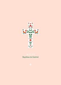 Livret de messe moderne croix folk rouge