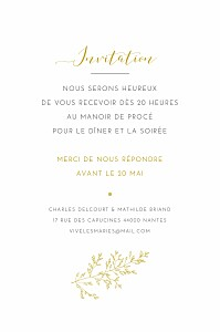 Carton d'invitation mariage moderne délicatesse jaune