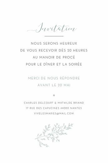 Carton d'invitation mariage Délicatesse vert