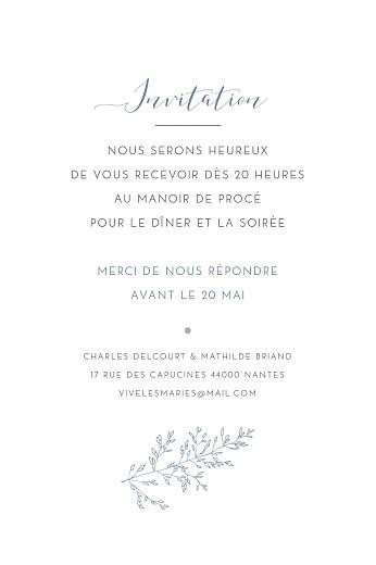 Carton d'invitation mariage Délicatesse bleu