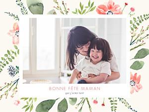 Affichette Fleurs aquarelle fête des mères beige