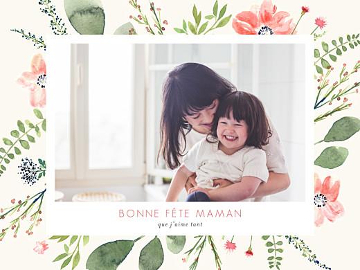Affichette Fleurs aquarelle fête des mères beige - Page 1