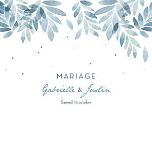 Faire-part de mariage bleu nuit d'été 4 pages (dorure) bleu