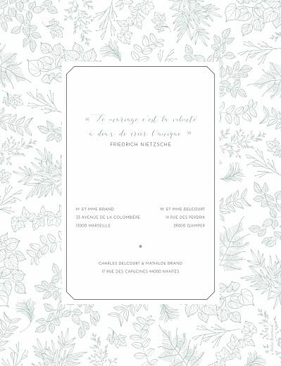 Faire-part de mariage Délicatesse (portrait) vert - Page 2