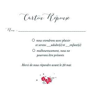 Carton réponse mariage original romance blanc