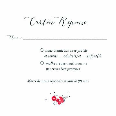 Carton réponse mariage Romance blanc finition