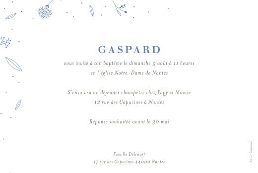 Faire-part de baptême Élégant feuillage (dorure) bleu - Page 2