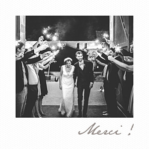 Carte de remerciement mariage original petit polaroid blanc