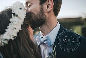 Carte de remerciement mariage tous genres design blanc