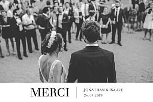 Carte de remerciement mariage classique bandeau chic 1 photo blanc
