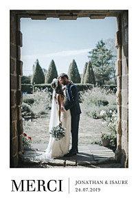 Carte de remerciement mariage classique élégant photo portrait blanc