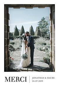Carte de remerciement mariage blanc élégant photo portrait blanc