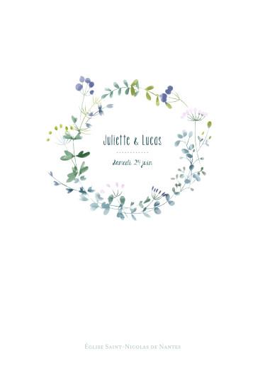 Livret de messe mariage Bouquet sauvage bleu