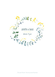 Livret de messe mariage jaune bouquet sauvage jaune