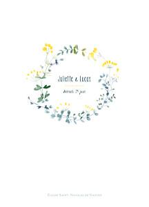 Livret de messe mariage blanc bouquet sauvage jaune