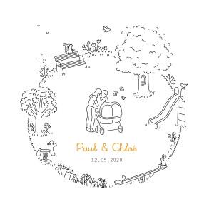 Faire-part de naissance Promesse au jardin jumeaux blanc