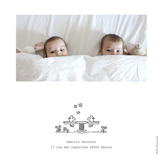 Faire-part de naissance Promesse au jardin jumeaux blanc - Page 4