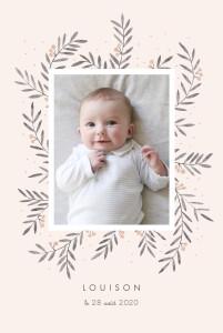 Faire-part de naissance Jolies brindilles portrait rose