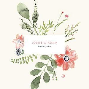 Faire-part de mariage beige fleurs aquarelle crème