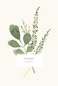Carte de remerciement mariage champêtre fleurs aquarelle crème