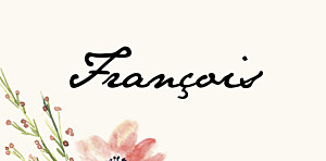 Marque-place mariage original fleurs aquarelle crème