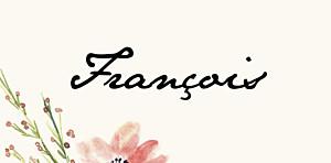 Marque-place mariage fleurs aquarelle crème