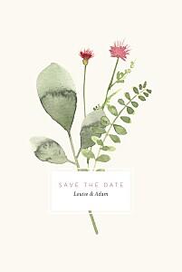 Save the date beige fleurs aquarelle crème