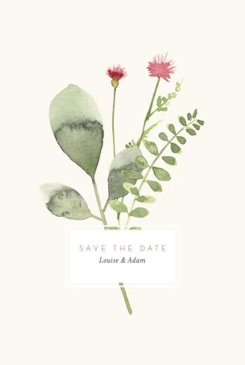 Save the Date Fleurs aquarelle crème