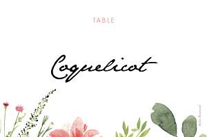 Marque-table mariage beige fleurs aquarelle crème