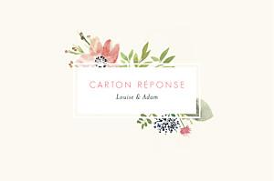 Carton réponse mariage beige fleurs aquarelle crème