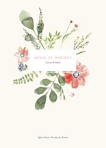 Livret de messe mariage moderne fleurs aquarelle crème