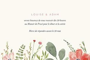 Carton d'invitation mariage moderne fleurs aquarelle crème