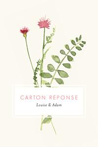 Carton réponse mariage beige fleurs aquarelle portrait crème