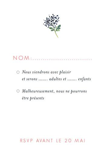 Carton réponse mariage Fleurs aquarelle portrait crème