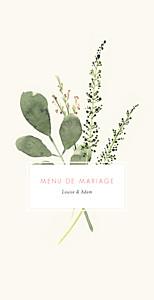 Menu de mariage moderne fleurs aquarelle crème