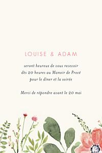 Carton d'invitation mariage beige fleurs aquarelle portrait crème
