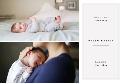 Faire-part de naissance Ecusson chic jumeaux rv blanc