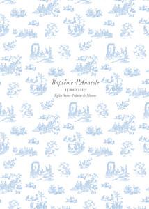 Livret de messe vintage toile de jouy bleu clair