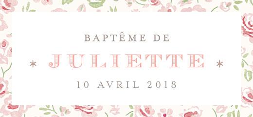 Etiquette de baptême Félicité rose