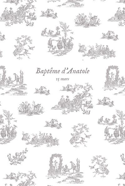 Menu de baptême Toile de jouy (4 pages) taupe finition