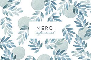Carte de remerciement mariage champêtre nuit d'été (dorure) bleu