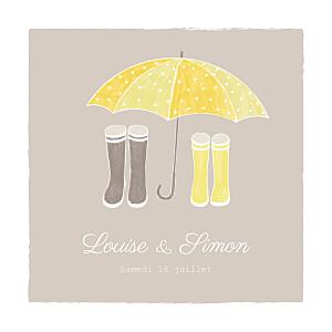 Faire-part de mariage original à pieds joints (4 pages) couple parapluie