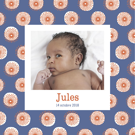 Faire-part de naissance Wax orange & bleu